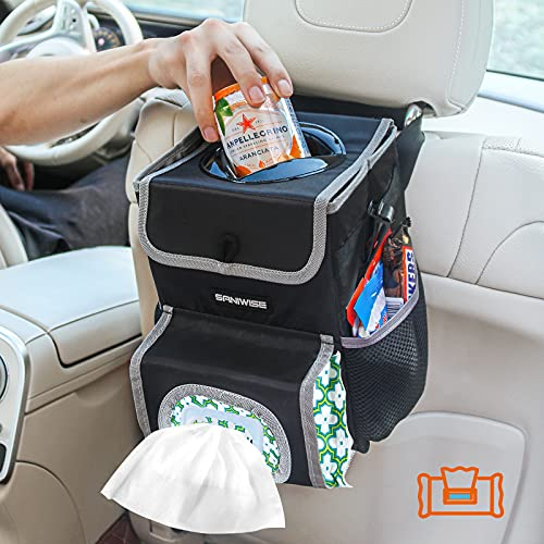 Car Trash Can with Lid, Saniwise Foldable Car Garbage Can with Storage Pockets and Wipes Holder, Waterproof Trash Bin Multifunctional Car Bag for Automotive Truck SUV Minivan Headrest Black Small