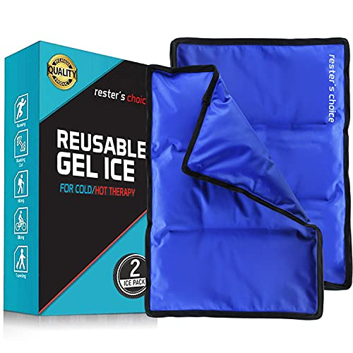 Rester's Choice Large Ice Pack for Injuries | 11' x 14.5' - Pack of 2 | Hot & Cold Pack | Reusable Gel Pack, Durable Construction, & Flexible When Frozen