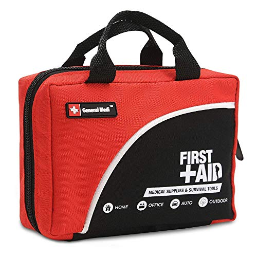 First Aid Kit -160 Pieces Compact and Lightweight - Including Cold (Ice) Pack, Emergency Blanket, Moleskin Pad,Perfect for Travel, Home, Office, Car, Camping, Workplace (Red)