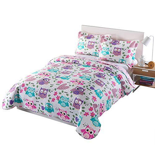 MarCielo 3 Piece Kids Bedspread Quilts Set Throw Blanket for Teens Boys Girls Bed Printed Bedding Coverlet, Full Size, Purple Hoot (Full)