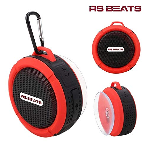 Portable Waterproof Bluetooth Wireless Speaker-with 5W Driver, Built-Mic, Suction Cup, Hands-Free Speakerphone Perfect for Camping, Sports, Beach, Shower, Pool Party(Red)