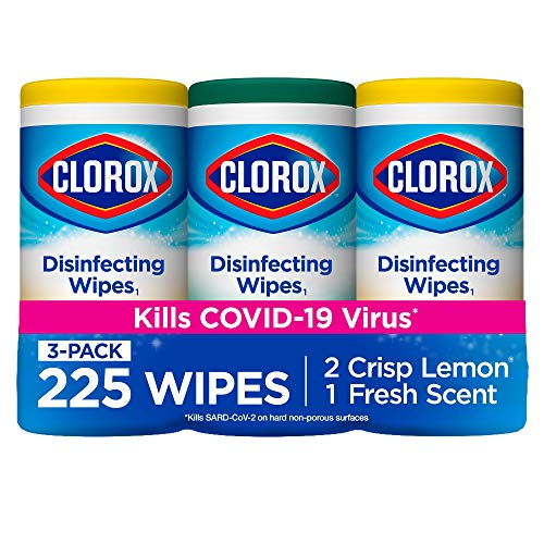 Clorox Disinfecting Wipes Disinfectant, 75 Count (Pack of 3), White, 225