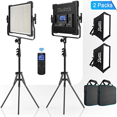 Switti 2-Packs 600 LED Video Light, Dimmable Bi-Color 3000K-8000K CRI96+ Panel Light, Photography Lighting Kit with Light Stand and Softbox for Portrait Shooting Video Recording