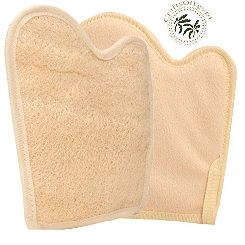 2 Exfoliating Loofah Pads/Gloves bath sponge, All-Natural Egyptian Bath & Shower Exfoliating washcloth and Loofa natural Sponge for Face, Back & Body, Eco Friendly and biodegradable.