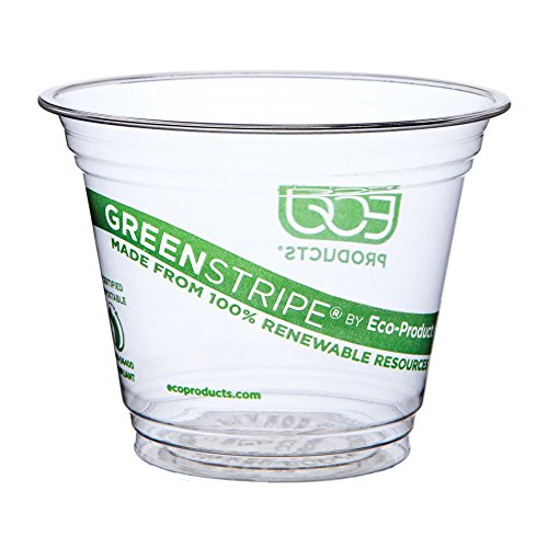 Eco-Products GreenStripe Renewable & Compostable Cold Cups, 9 oz, Case of 1000 (EP-CC9S-GS)