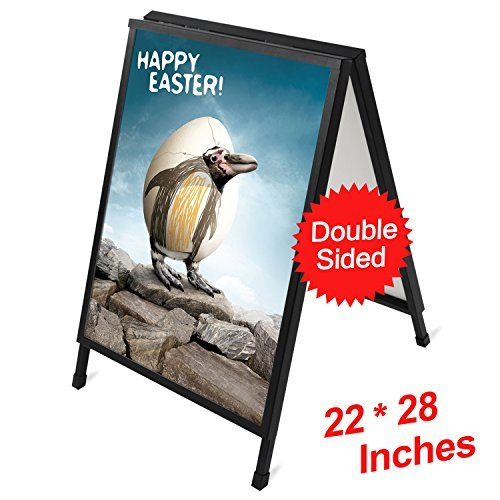 T-SIGN 22 x 28 Inch Slide-in Folding A-Frame Sidewalk Curb Sign Double-Sided Display, Black Coated Steel Metal, 2 Corrugated Plastic Poster Boards