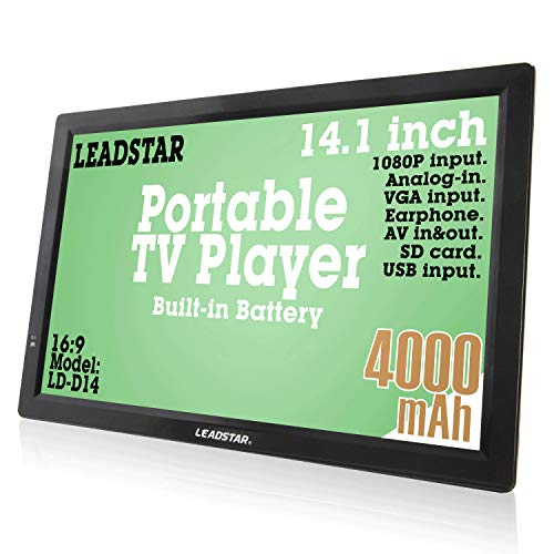 LEADSTAR 14 Inch Portable Digital ATSC TFT HD Screen Freeview LED TV for Car, Caravan, Camping, Outdoor or Kitchen. Built-in Battery Television/Monitor with Multimedia Player Support USB Card LEADSTAR