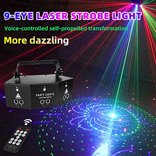RGB Scan Laser 9 Lens Scanning Stage Light DMX Line Beam Lighting with Remote Control for DJ Dance Disco Bar Birthday Party