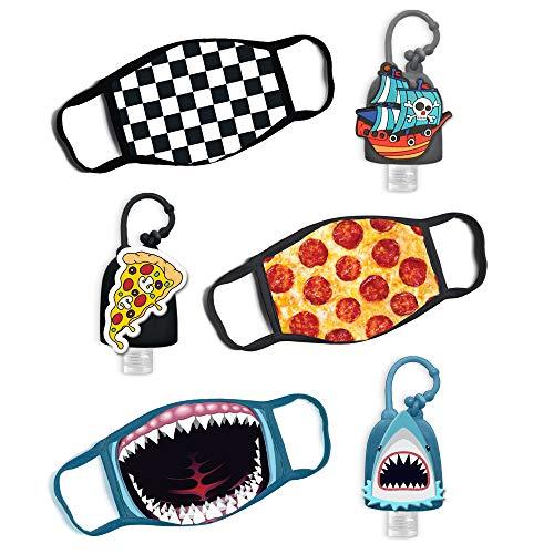 ABG Accessories Boys 3-Pack Kids Face Mask and Hand Sanitizer Holder Keychain (Flip Cap Reusable Empty Bottles) Age 3-7, Shark Design