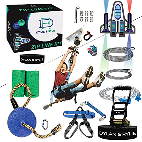 Zipline Kit - Zipline Kits For Backyard Zipline Kit For Kids And Adults, 160ft Zip Line Kit With Brake, Safety Harness, Zipline Kit With Seat, Backyard Zipline For Kids, Zip Lines for Kids Outdoor