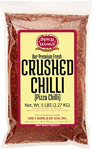 Spicy World Crushed Pepper Chilli Flakes, Red (5LB Value Pack)