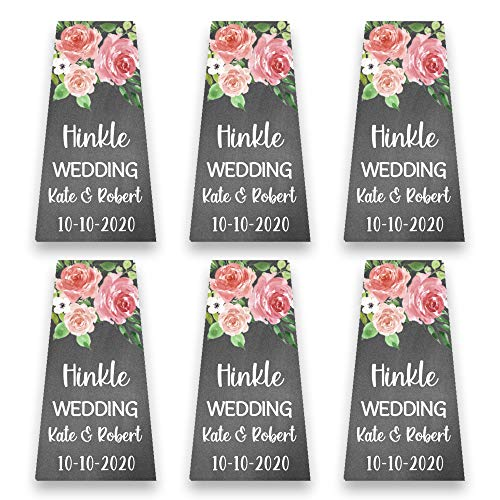 Personalized Chalk & Flower Favor Labels for 1 Ounce Bottles | Customized Wedding Favor Stickers | Custom Labels for Mini Plastic Bottles (PB4)