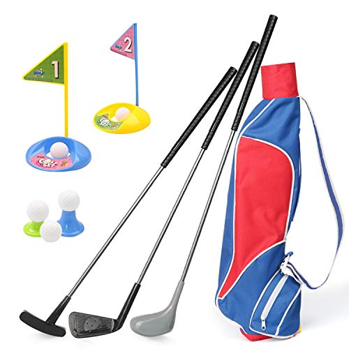 Kids Golf Clubs Set, Exercise N Play Deluxe Happy Young Golfer Sports Kit, 15 Piece Set for Promotion of Kids Physical and Mental Development