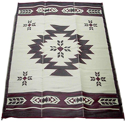 Fireside Patio Mats Navajo Breeze Burgundy And Beige 9 ft. x 12 ft. Polypropylene Indoor/Outdoor Reversible Patio/RV Mat