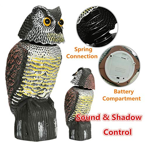 Huarui Owl Decoys to Scare Birds Away - Realistic Eyes & Waterproof Shape Owls for Bird Control