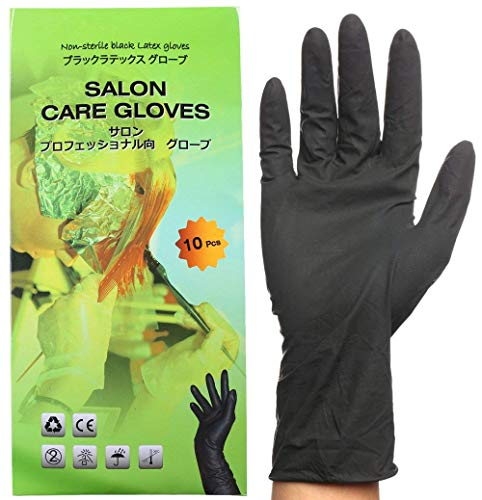 Black Reusable Latex Gloves, Salon Hair Color Dye Gloves-Medium Size (Pack of 10)
