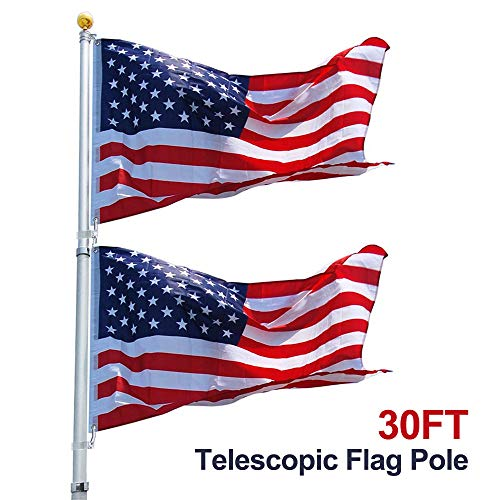 Instahibit 30FT Telescopic Aluminum Flag Pole Kit Fly 2 Flags Free 3x5 US Flag Ball Top 16 Gauge Telescoping Flagpole