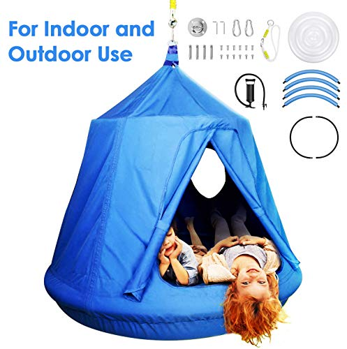 amzdeal Hammock Swing Tent for Kids for Indoor and Outdoor Use Hammock Chair Waterproof&UV-Resistant with 2 Portholes &Removable Inflatable Cushions Up to 220 lbs (Blue)