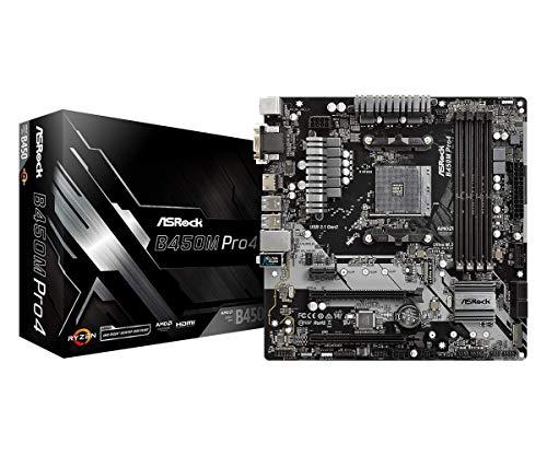 ASRock B450M PRO4 AM4 AMD Promontory B450 SATA 6Gb/s USB 3.1 HDMI Micro ATX AMD Motherboard