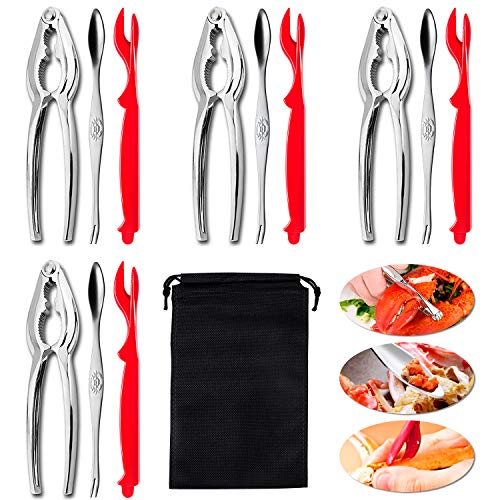 12 Pieces Crab Leg Crackers Set Including 4 Seafood Crackers 4 Seafood Sheller and 4 Stainless Steel Forks