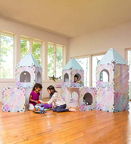 HearthSong 24-Piece Sea Castle Build-A-Fort Indoor Building Kit with Sturdy 22' Sq. Cardboard Panels and Hook and Loop Connectors