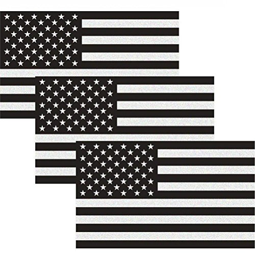 Reflective Subdued American Flag Sticker 3' X 5' Tactical Military Flag USA Decal Great for JEE, Ford, Chevy or Hard Hat, Car Vinyl Window Bumper Decal Sticker (3-Pack)