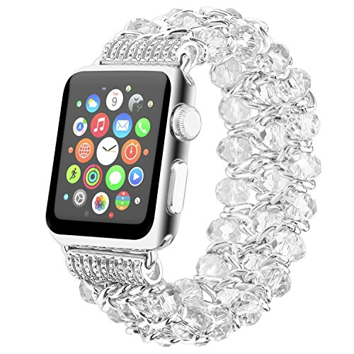 Fohuas Compatible for Apple Watch Bracelet 38mm 40mm Series 5 4 3 2 1, Luxury Crystal Beads iWatch Band Fashion Metal Chain Elastic Stretch Wristband Strap for Women Girl, White