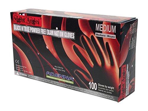 Adenna Night Angel 4 mil Nitrile Powder Free Exam Gloves (Black, Medium) Box of 100