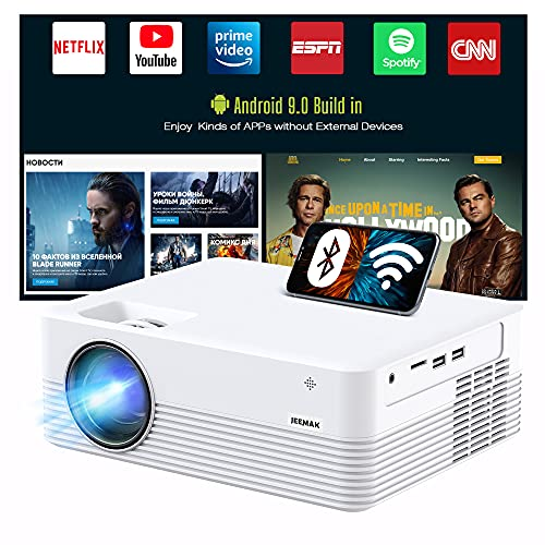 JEEMAK Smart Projector, Android WiFi Bluetooth Projector, Mini Portable Wireless Projector, 5000 Lux, LED Video Projector for Smart Phone, HD 1080P Supported and 170' Display, Outdoor Movie Projector