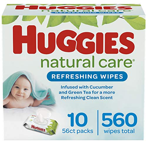 Huggies Natural Care Refreshing Baby Wipes, Scented, 10 Flip-Top Packs (560 Wipes Total)