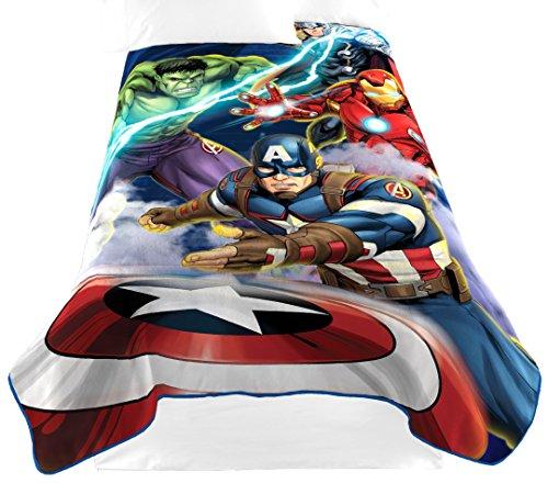 Marvel Avengers Blue Circle Fleece Plush Blanket, 62 x 90/Twin