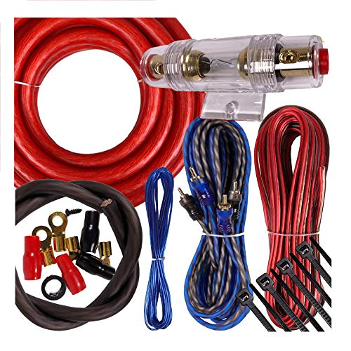 Complete 2000W Gravity 4 Gauge Amplifier Installation Wiring Kit Amp PK1 4 Ga Red - for Installer and DIY Hobbyist - Perfect for Car/Truck/Motorcycle/RV/ATV