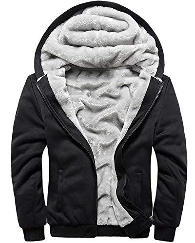 MACHLAB Men's Pullover Winter Workout Fleece Hoodie Jackets Full Zip Wool Warm Thick Coats Black#W11 M