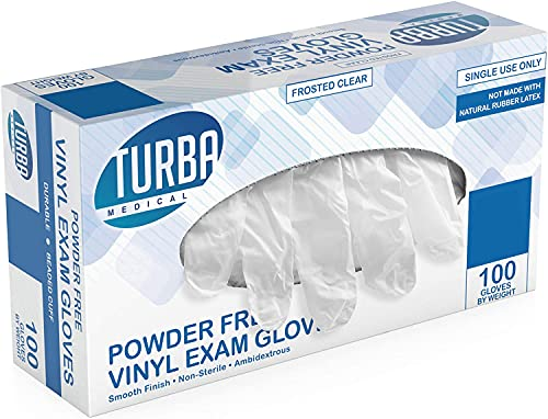 Disposable Vinyl Gloves, 100 Non Sterile, Powder Free, Latex Free - Examination Gloves, Cleaning Supplies, Kitchen and Food Safe - MEDIUM