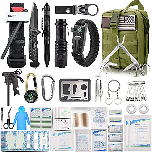EMDMAK First Aid Kit Survival Kit, 276Pcs Tactical Molle EMT IFAK Pouch Outdoor Gear Emergency Kits Trauma Bag for Camping Hiking Boat Hunting Home Car Earthquake and Adventures