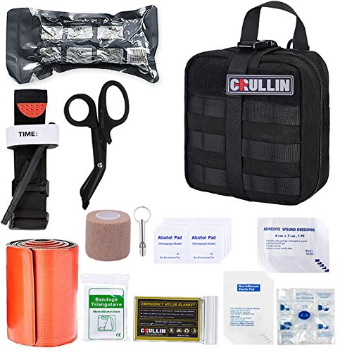 GRULLIN Emergency IFAK Trauma Kit, Survival First Aid Kit Military Tactical Molle Pouch Tourniquet EMT for First Aid Response Gunshot Wound Care Bleeding Control (Black)