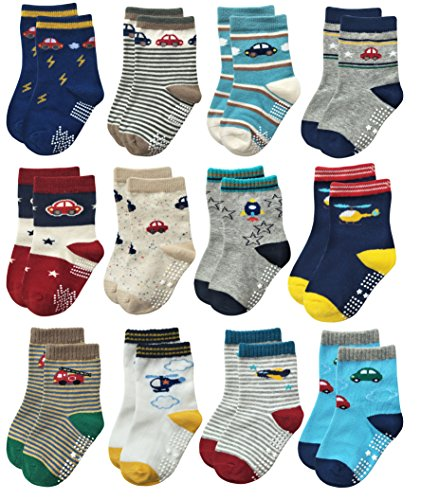 RATIVE Non Skid Anti Slip Slipper Cotton Crew Dress Socks With Grips For Baby Toddlers Kids Boys (0-6 Months, 12 Designs/RB-71112)