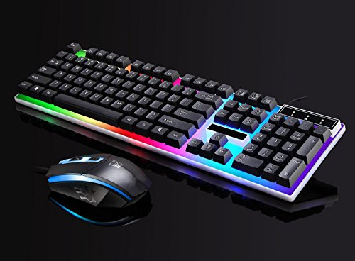 SUImeito Keyboard G21 Led Rainbow Color Backlight Gaming Game USB Wired Keyboard Mouse Set (Black)