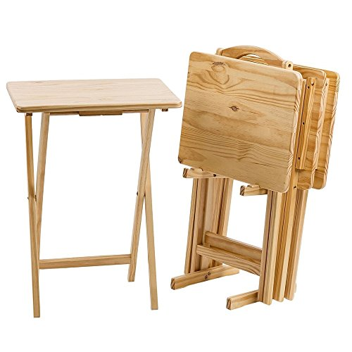 Pearington Ranchwood Folding Table Multipurpose use-TV Tray for for Dining, Laptop Computer Stand, Gaming, Desk- Pack 4, Natural Wood Finish