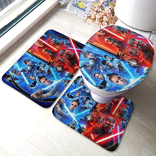 Heavenly Battle Sci-fi Movie Star War Bath Mat 3 Piece Set,Bathroom Carpet Set Bath and Absorbent Bath and Mat Pads Sets Anti-Skid Pads Bath Mats + Contour Pads + Toilet Lid