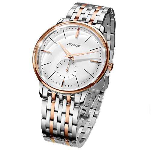 ROCOS Automatic Watch for Men Wrist Watches Waterproof Analog Watch with Stainless Steel and White Dial Luxury Classic Elegant #R0140 (Rose Gold)