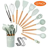 Kitchen Utensil Set Silicone Cooking Utensils, 12pcs Cooking Utensils Set with Wooden Handle, BPA Free, Non-Toxic Silicone Spoon, Turner Spatula Silicone Kitchen Utensils, Whisk, Brush—Green