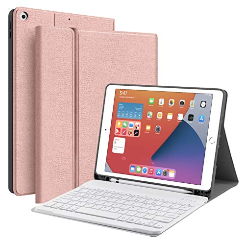 JUQITECH iPad 10.2 8th 7th Generation Keyboard Case - Smart Case with Wireless Keyboard iPad 10.2' 8th Gen 2020 7th 2019 Tablet Detachable Bluetooth Keyboard Stand Cover with Pencil Holder, Rose Gold