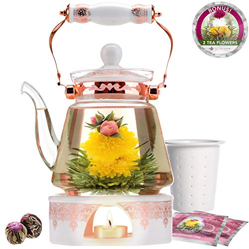 Teabloom Buckingham Palace Teapot & Flowering Tea Gift Set (6 Pieces) - Stovetop Safe Glass Teapot (40 OZ / 1.2 L / 4-5 CUPS), Porcelain Lid, Tea Warmer, Loose Tea Infuser, 2 Gourmet Rose Tea Flowers