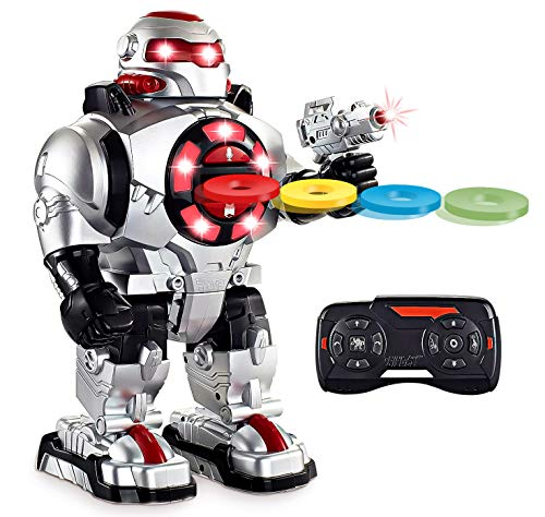 Think Gizmos TG542-VR RoboShooter Remote Control Robot - with Voice Recording, Fires Discs, Plays Music & Dances