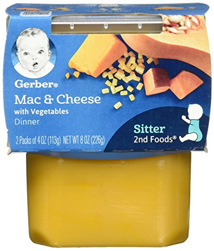 Gerber 2nd Foods Macaroni & Cheese with Vegetables Pureed Baby Food, 4 Ounce Tubs, 2 Count (Pack of 8)