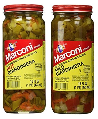 Marconi The Original Chicago Style Hot & Mild Giardiniera 16 oz (Variety Pack)