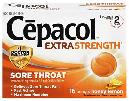 Cepacol Maximum Strength Throat Drop Lozenges, Honey Lemon, 16 ct (Pack of 5)