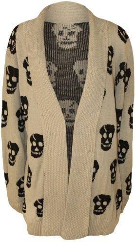 WearAll Women's Plus Size Skull Long Sleeve Knitted Cardigan - Stone - US 12-14 (UK 16-18)
