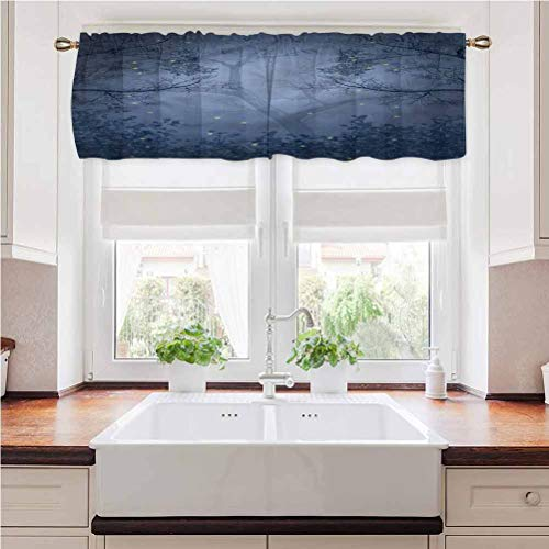 painting-home Window Curtain Valance Mystic Forest, Dragonflies Branches Rod Pocket Blackout Valance Curtains for Kitchen Bedroom Decor 54 x 12 Inch